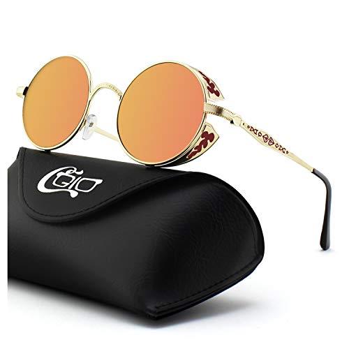 CGID Retro Sonnenbrille im Steampunk Stil, runder Metallrahmen, polarisiert, für Frauen und Männer, E71 (D-und B-clear-taschen)