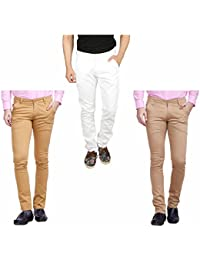 Nimegh White, Wine And Beige Color Cotton Casual Slim Fit Trouser For Men's (Pack Of 3)