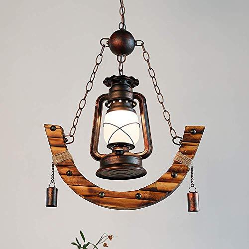 Hao_zhuokun Hängelampe LED Öllampe Bambus + Eisen + Glas E27 Cafe Restaurant Internet Cafe Bar Chand + elier/Lampe Pendelleuchte Nordic Moderne kreative Kronleuchter
