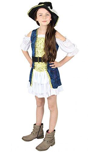 Mafia Kostüm Mädchen - Foxxeo 40316 | Deluxe Piratenkostüm Karneval Motto Party Kostüm Piratin Seeräuberin Mädchen Gr. 98 - 158, Größe:146/152