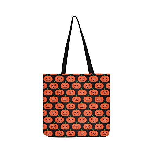 (Halloween Kürbis Happy Canvas Tote Handtasche Schultertasche Crossbody Taschen Geldbörsen Für Männer Und Frauen Einkaufstasche)