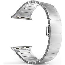 MoKo Cinturino per Apple Watch 42mm, Braccialetto in Acciaio Inossidabile con Chiusura a Farfalla Fibbia per Apple Watch 42mm di Series 1 2015 & Series 2 2016 - ARGENTO (Non Adatto a 38mm)