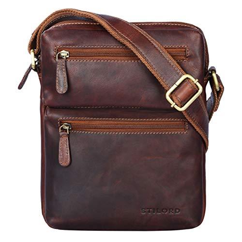STILORD \'Moritz\' Kleine Ledertasche Umhängetasche braun Vintage Messenger Bag für Herren mit vielen Fächern für 10.1 Zoll Tablet iPad aus echtem Büffel-Leder, Farbe:Cognac - Dunkelbraun