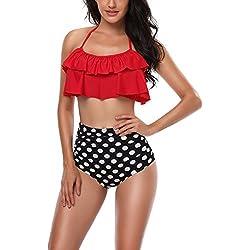 Dearaimili Mujeres Trajes de Baño Impresión Cintura Alta Lunares Bikini Tankinis Rojo