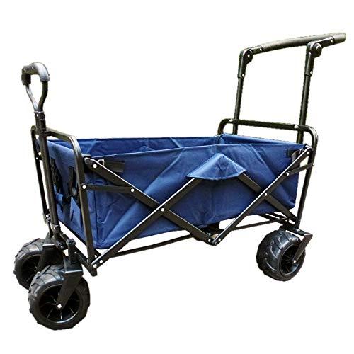 XQR Faltender Gebrauchslastwagen im Freien, Garten-Strand-Einkaufscampingwagen mit Ablagekorb, Lastwagen-Handzug-Schubkarre,Blue