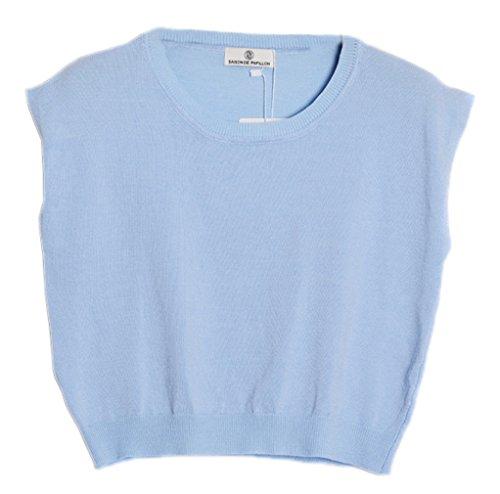 Smile YKK T-shirt Peplum Tops Uni Tricot Débardeur Couleurs Bonbons Pour Femme Bleu
