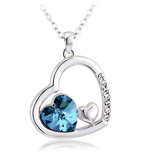 Shining Diva Platinum Plated Blue Heart Austrian Crystal Pendent Necklace For Women