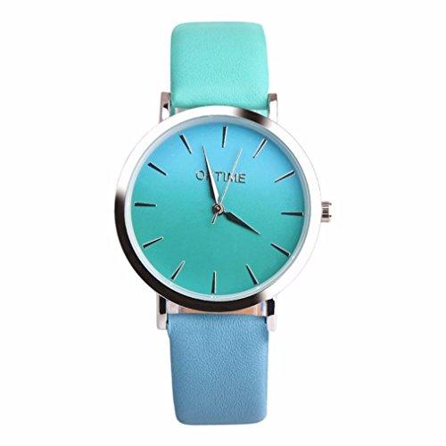 CLOOM Retro Uhr Rainbow Design Lederband Analog Alloy Uhr Quarz Armbanduhr Cute Watch Pink Blau Hit Farbe Casual Uhr Herren Damen Lässig Uhr Elegante Uhren Schöner Schmuck (F)