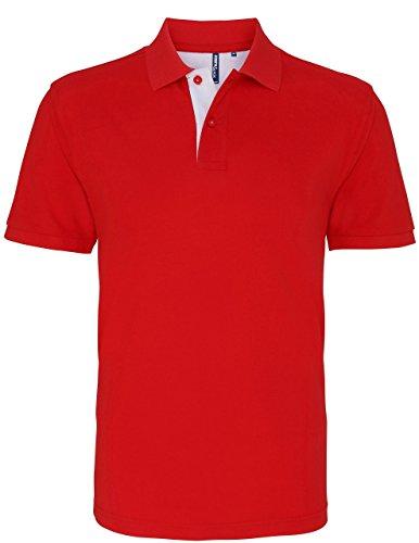 Herren Klassische Passform–Kontrast Polo Mehrfarbig - Rot / Weiß