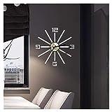XLGX Horloge Murale muette Pendule Murale de Mode Moderne Acrylique Horloge Murale sans Cadre 3D Miroir Autocollant Bureau hôtel décoration de la Maison DIY Horloge Murale (Argent)