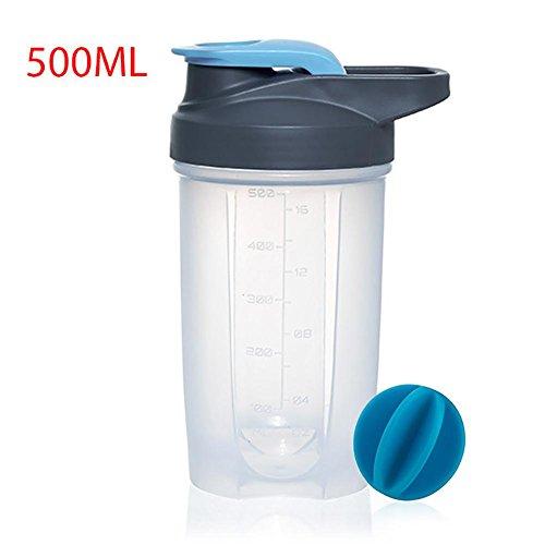 Pawaca Botella de agua para deportes, 500 ml de proteínas antigoteo con bola mezcladora de acero inoxidable 304 y medidas para gimnasios y deportes, azul