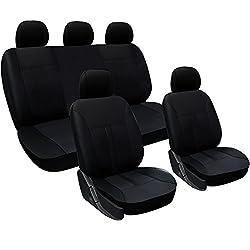 WOLTU AS7290 Universal Schonbezüge für Auto Sitzbezüge Sitzschoner Sitzbezug Auflage, Kunstleder, schwarz