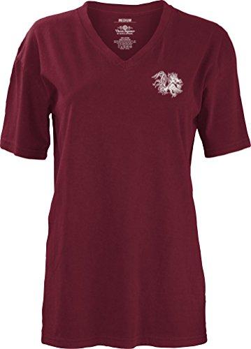 South Carolina Damen T-shirt (Three Square by Royce Apparel NCAA T-Shirt South Carolina Fighting Gamecocks Maskottchen Aztec kurzärmlig V-Ausschnitt Größe M, Kastanienbraun)