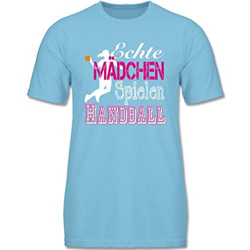 Verrückte Jungs T-shirt (Shirtracer Sport Kind - Echte Mädchen Spielen Handball Weiß - 152 (12-13 Jahre) - Hellblau - F140K - Jungen T-Shirt)