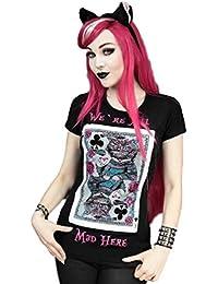 Camiseta Restyle del Gato de Cheshire Jugando Cartas de Alicia en el País de las Maravillas