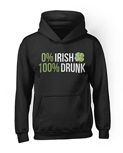0% Irish 100% Drunk Komisch Sarastic Ireland Herren Hoodie Sweatshirt Schwarz Large (Irish Drunk T-shirt)