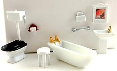 Casa De Muñecas Miniatura 1:48 Escala Plástico Set De Muebles De Baño
