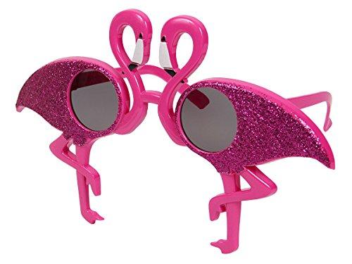 Alsino XL Partybrille 70er Jahre pink Spaßbrille Flamingo Partybrille Sonnenbrille LG9657 Funbrille Erwachsene Kinder Glitzer