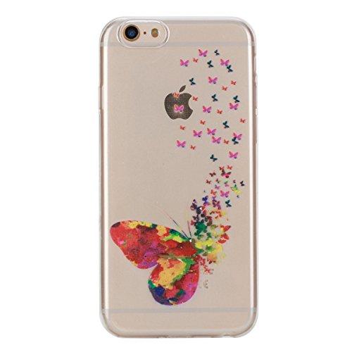 Apple iphone 6s Hülle,iphone 6 Transparent Crystal Klar Case,Ekakashop Ultra Dünn Slim Modisch Durchsichtig BOO Muster Weiche Silikon TPU Flexible Gel Case Crystal Defender Protective Schutzhülle Bump Magische Schmetterlinge