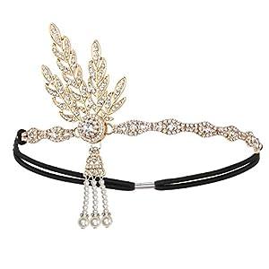 KQueenStar Damen Accessoires Set Halskette Handschuhe Zigarettenhalter Stirnband 20er Jahre 1920s Charleston Gatsby Retro Stil Kostüm Ball, Gold Set A,