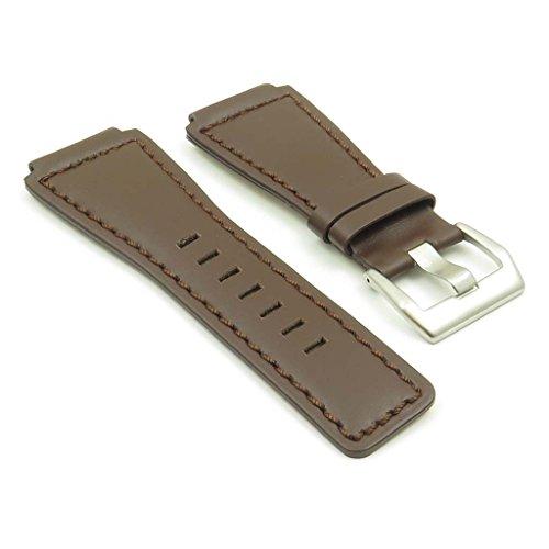 strapsco dunkelbraun Echt leder watch band für Bell & Ross Größe 24mm