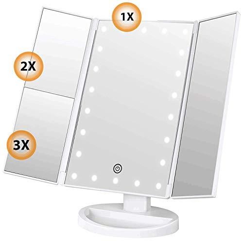 SoataSoa Kosmetikspiegel Schminkspiegel mit LED Licht und 1X/ 2X/3X-Vergrößerungsspiegel, Kosmetikspiegel mit Beleuchtung mit 22 LED Spiegel 180 Grad Einstellbar Make-up-Spiegel 3 Seiten