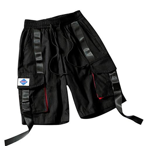 Herren Sommer Outdoor Casual mehrere Taschen Ribbon Overalls Shorts Hosen Amoyl Ribbon Jeans Hose