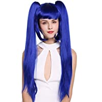WIG ME UP ® - ZM-1708-SK22F Peluca mujer Cosplay trenzas largas extraíbles azul