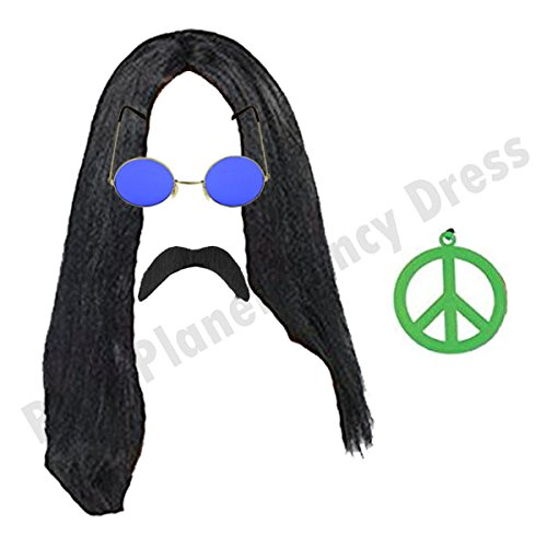 Hippie Man Set. 1970s Long Black Wig, Sunglasses, Moustache and Peace Medallion Necklace.