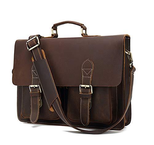Männer Echtes Leder Messenger Tasche Laptoptasche Crazy-Pferden-Leder-Geschäfts-Aktenkoffer-Schulter-Laptop-Tasche-Darkbrown-OneSize - Pferde Schulter Tasche