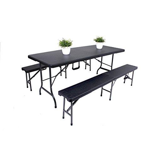 Unbekannt VARILANDO Tisch-Set in Rattan-Optik aus Kunststoff in schwarz Bierzelt-Garnitur Gartenbank...