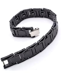 "K Mega Jewelry 12mm Black Tungsten Magnetic Hematite Mens Bracelet 8"" B504"