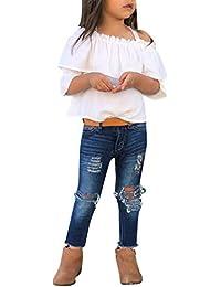75acfb396 PAOLIAN Conjuntos para Niñas Verano Primavera 2019 Camisetas de Tirantes y  Pantalones Vaquero Roto Bebe Niñas