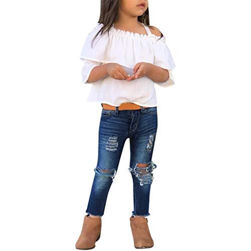 2 Pcs Kleinkind Baby Mädchen Aus der Schulter T-Shirt Tops und Denim Hose Jeans Set (Jeans-pumphose Für Kleinkinder)