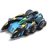 Hadishi Voiture télécommandée, Plafond de Voiture télécommandée Escalade électrique Jouets RC Mini Stunt Car Cadeau d'anniversaire Cadeau pour Enfants,Blue