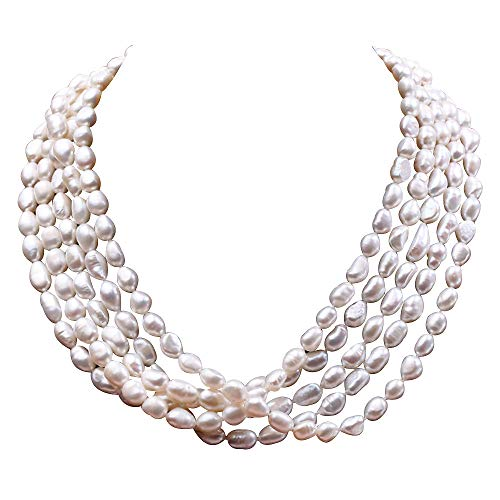 5b4efbe373a2 JYX 6.5-7mm Five-strand Freshwater Cultured White Pearl Necklace for Women