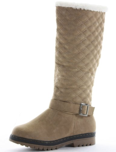 shoeFashionista Ladies Flat Winter Fur Quilted Snow Low Heel Calf High Leg Knee Boots Size Brown/Tan