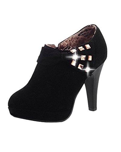 Minetom Mujer Botines Otoño Invierno Botas Del Bowknot Zapatos De Las Bombas Tacón Desnudo Delgado boots Negro EU 38