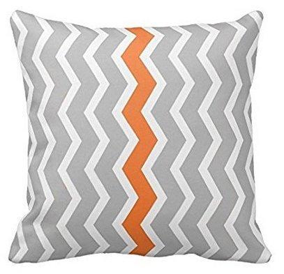 babyssj grau weiß orange Chevron Muster Design Werfen Kissenbezug (Chevron-kissen Orange Werfen)