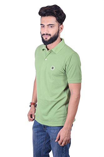 Bayside Clothing Mens Green Collared Polo T-Shirt 2 Button Fastening Embroidered Short Sleeve All Sizes Large