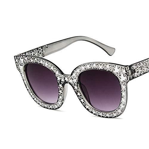 YUHANGH Dazzle Black Grey Damen-Sonnenbrille Vintage Cat Eye Sonnenbrille Star Sunglasses Fashion Mirror Shades