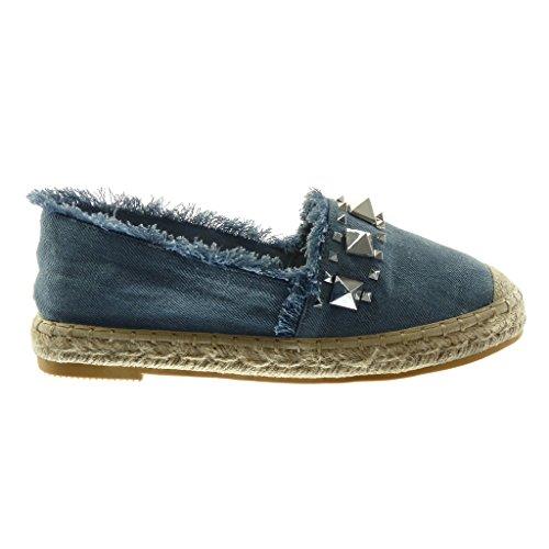 Angkorly Damen Schuhe Espadrilles Sandalen - Slip-On - Nieten - Besetzt - Ausgefranst - Seil Blockabsatz 2.5 cm Blau