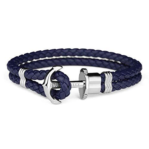 PAUL HEWITT Anker Armband PHREP - Lederarmband für Damen und Herren (Marineblau), Männer und Frauen Armband mit Anker Schmuck aus Edelstahl (Silber)