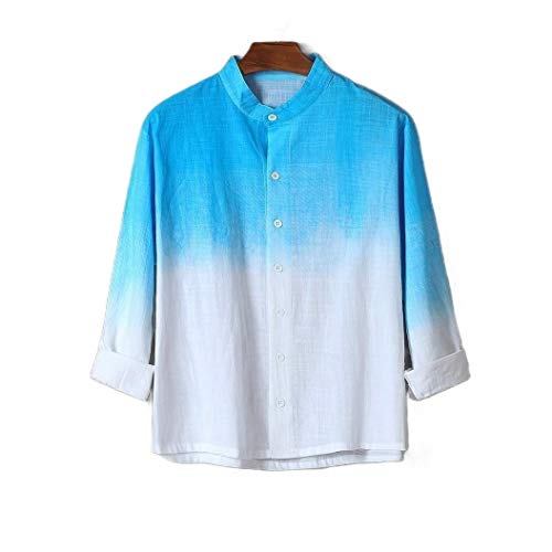 CuteRose Mens Short Sleeve Gradients Cardigan Cotton Linen T-Shirt Tops Sky Blue 2XL - Woven Long Sleeve Button