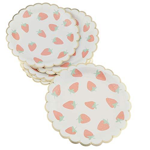 (Perfeclan 8X Einwegteller Pappteller Party Supplies mit Erdbeer Bedruckt für Party BBQ Camping ect. - 7 Zoll)