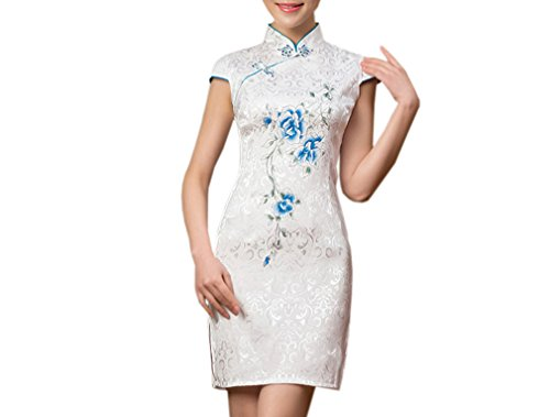 Luck Robe Courte Chinois Imprimé Classique Style Chinois en Coton Blanc