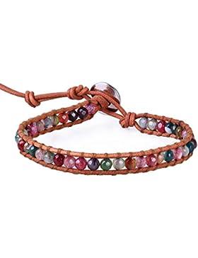 KELITCH Bunt Achat Facettiert Perlen Beige Leder Armband Freundschaftsarmbänder