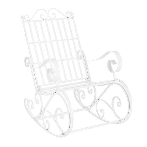 [casa.pro] Sedia a dondolo robusta di metallo bianco