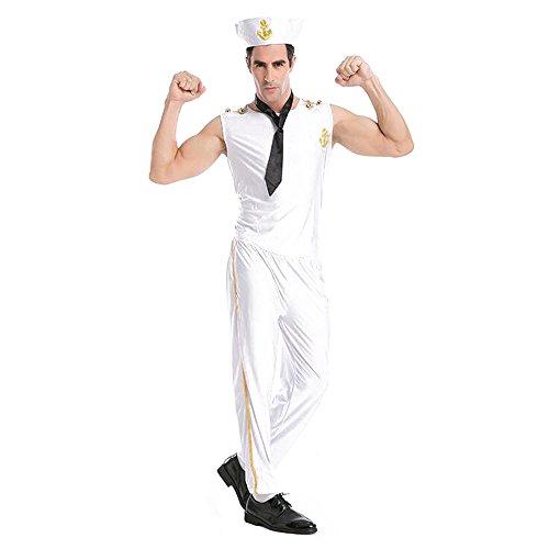 BOZEVON Mens Kostüm Military Guy Navy White Sailor Kostüm für Halloween Cosplay Parteien oder Themed Events Kostüm