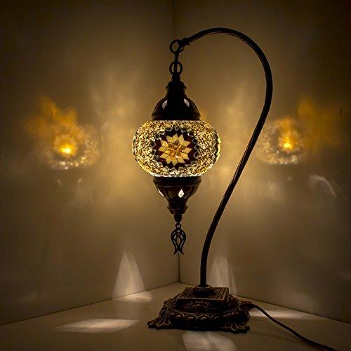 Mosaik Lampe–Türkisch Mosaik & Schreibtisch Lampe, atemberaubende, Einzigartige Globe Lampenschirm, marokkanischer Stil, Schwanenhals Serie Schwarz/Gelb